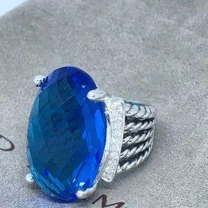 🌼DAVID YURMAN S Silver Blue Topaz Oval Wheaton